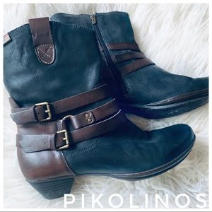 PIKOLINOS brown + black leather heel boots buckle
